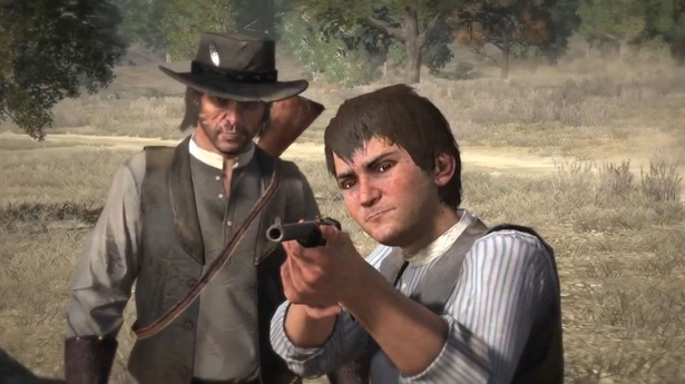 John Marston watches his son practice aiming a gun.