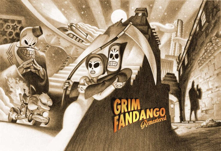 Black and white pencilized cover art for Grim Fandango Remaster