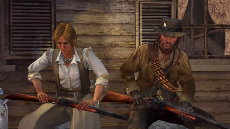 Jack Marston and Bonnie Macfarlane sitting on a bench. They are both carrying rifles.
