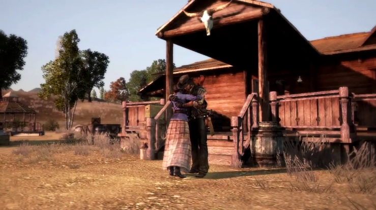 John Marston embraces his wife, Abigail Marston.