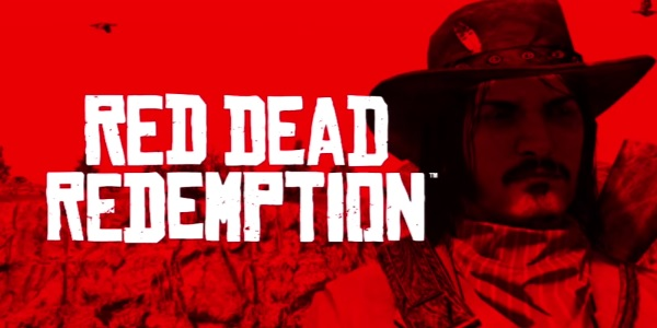 Closing red and white title card of Red Dead Redemption with Jack Marston's face.