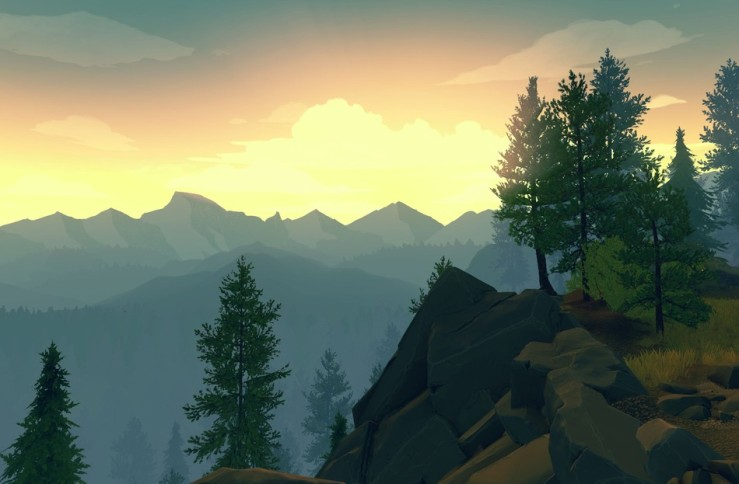 A screenshot from Firewatch. A view of mountain range, with pine trees framing the right side.
