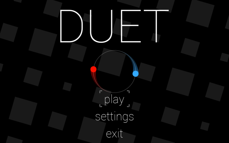 The title screen of duet, with play and settings options. At the center are a blue dot and a red dot, which sit on opposite curves of a circle.
