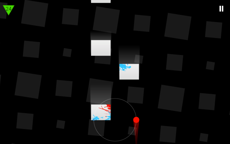 A example of Duet's failure state. The blue dot has been splattered across one of the obstacles.