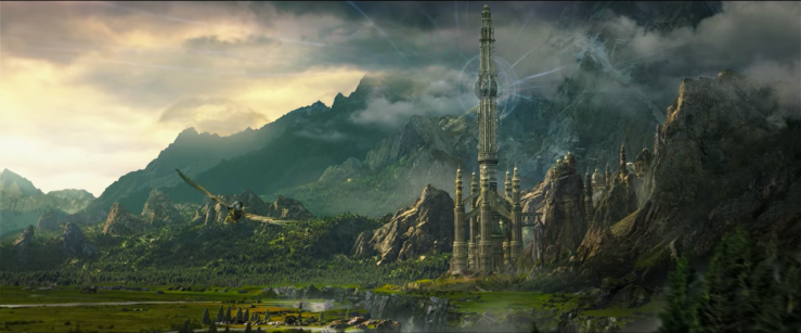 A giant eagle flies towards the mountains. In the middle of the range is a giant tower eminating magical energy.