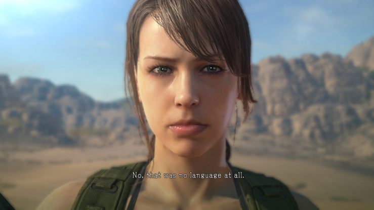 A close up of the female character Quiet's face