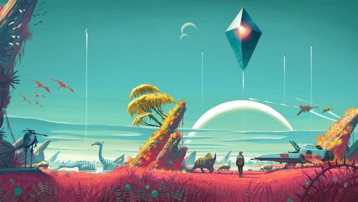 A piece of concept art from No Man's Sky. It depicts an alien world with otherworldly flora and fauna. Several spaceships ascend into a blue sky.