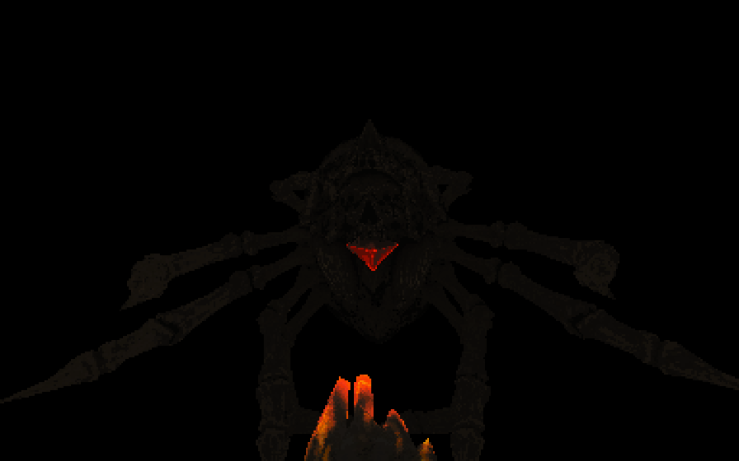 A screenshot from Devil Daggers. Showing a glowing hand before a massive skel