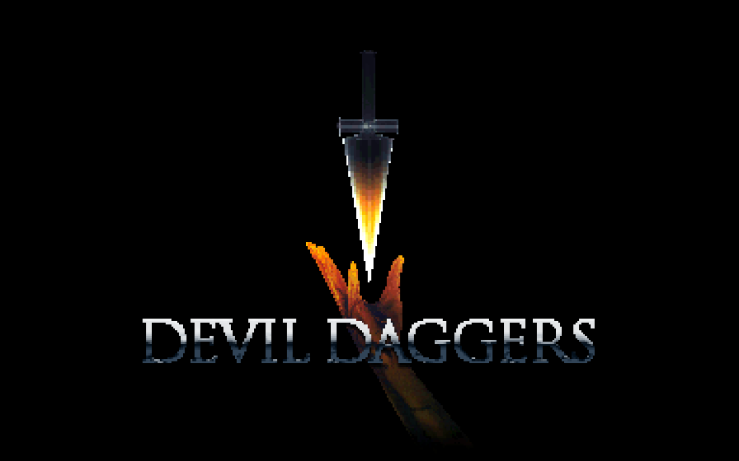 The title screen of Devil Daggers, featuring a glowing red hand suspending a black dagger by the tip.