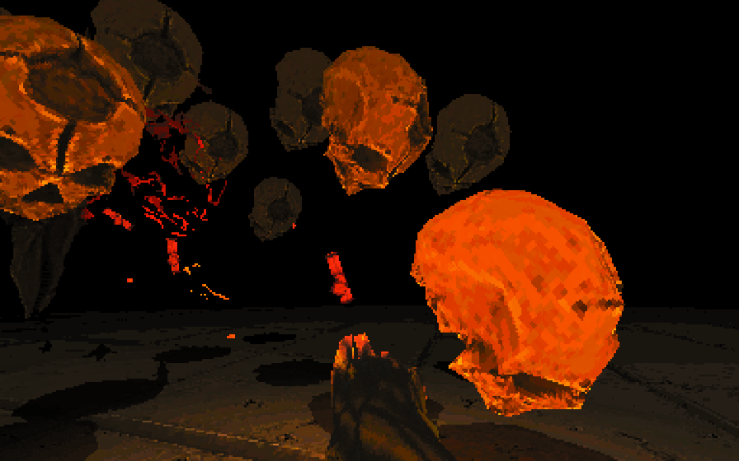 The player firing blasts at floating skulls.