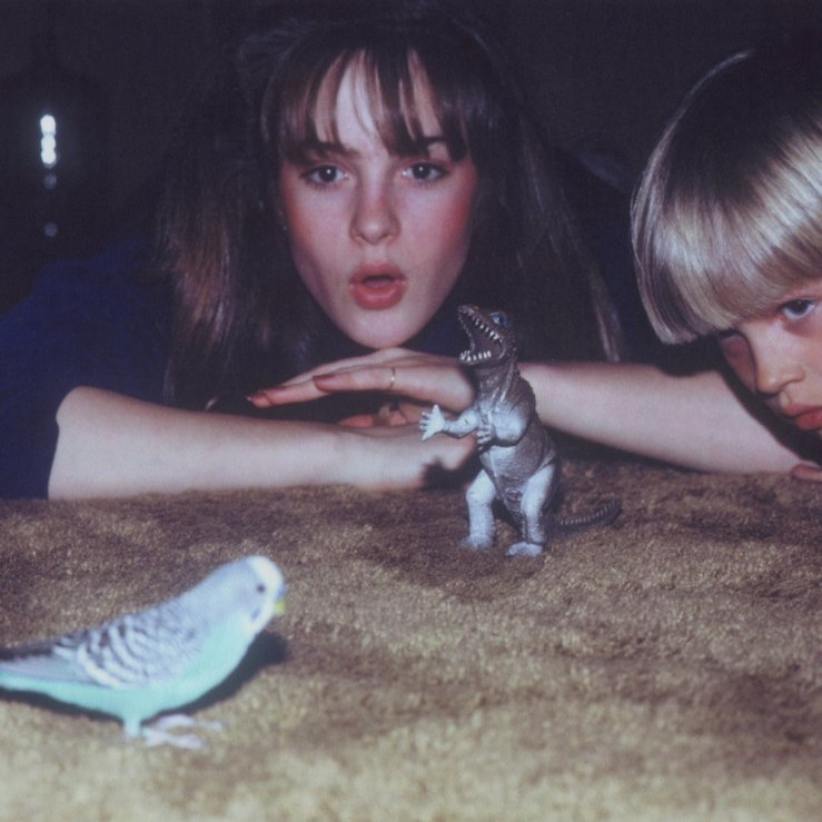 "The cover of Big Thief's album ""Masterpiece."" It depicts a yougn girl and boy on a brown carpet floor looking at a toy T-Rex and a real"