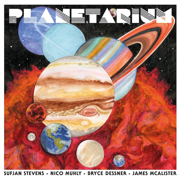 The cover art of Planetarium. A painting of every planet in the solar system