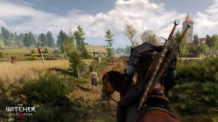 Geralt, a large white-haired warrior with two swords, rides his