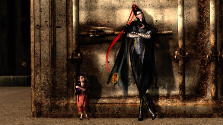 Bayonetta and a young girl lean a