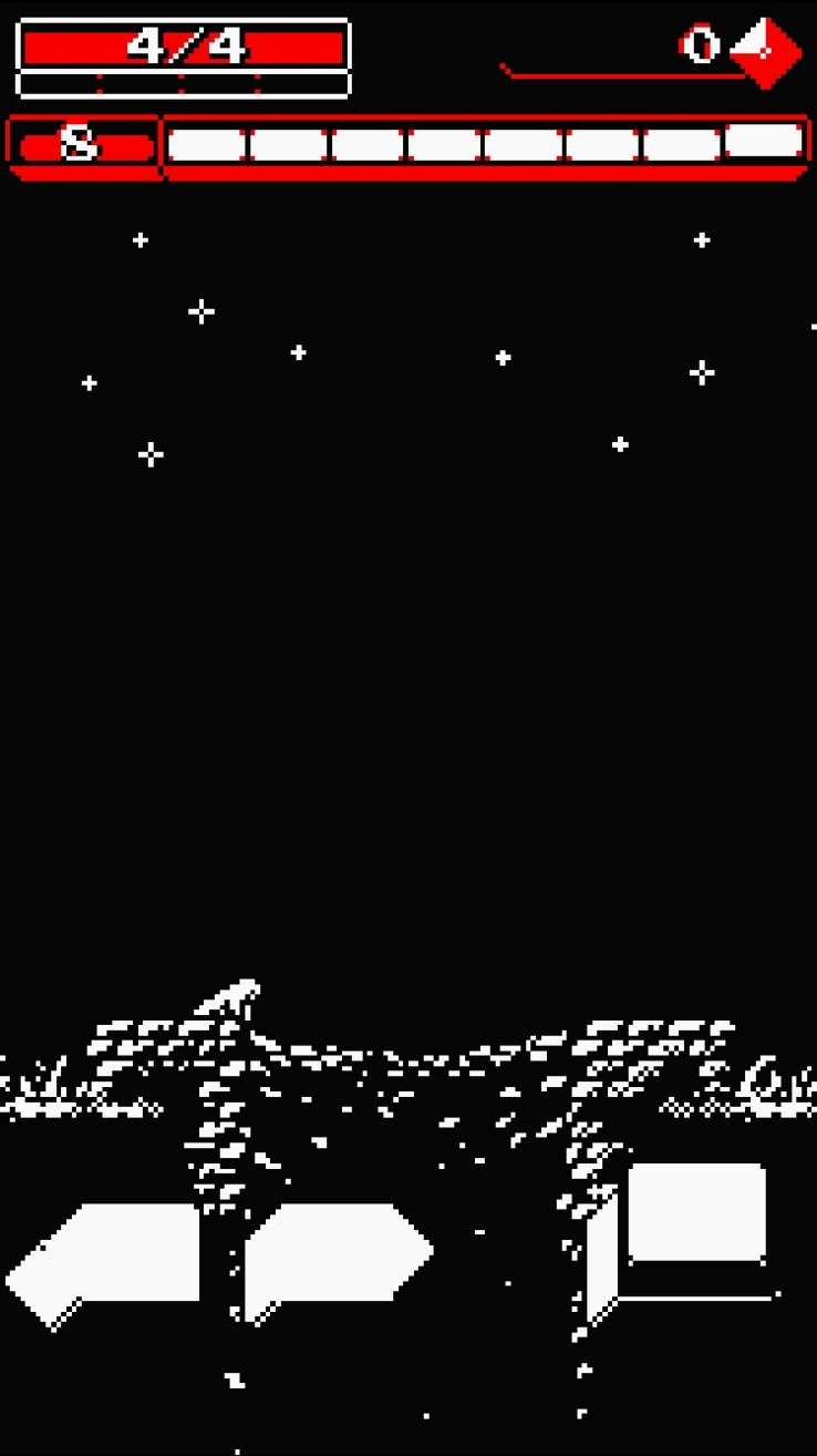 A screenshot of Downwell on a phone, a small pixel man looks down into a well, stars above him.
