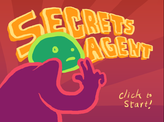 The title screen of Secrets Agent, with a blobby drawn man, holding to