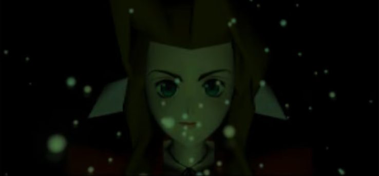 A polygonal Aerith Gainborough, from the original Final Fantasy VII, looks directly at the camera. In her eyes