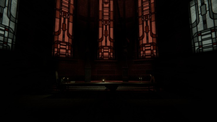 A dark cathedral room, with ominous red stained glassed windows hovering above the floor. A long table stands in the middle of the frame. A sitted woman on the left side; a